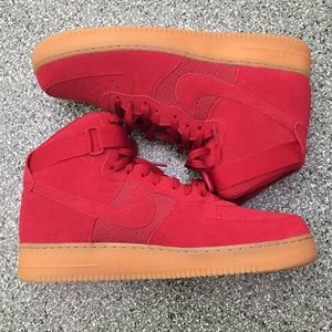 NIKE Air Force 1 Men's Red & Gum Bottom Size 14